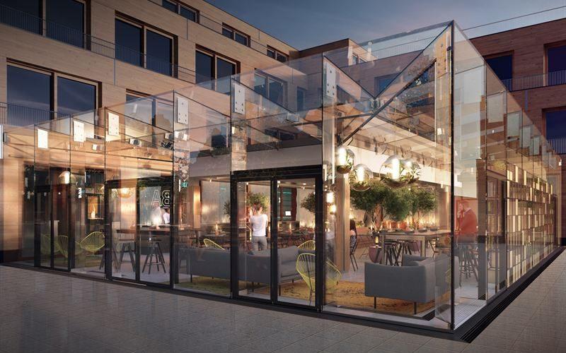 Tillbyggnad i glas. Ljusgård i bärande glas. Restaurang och utställningsytor.