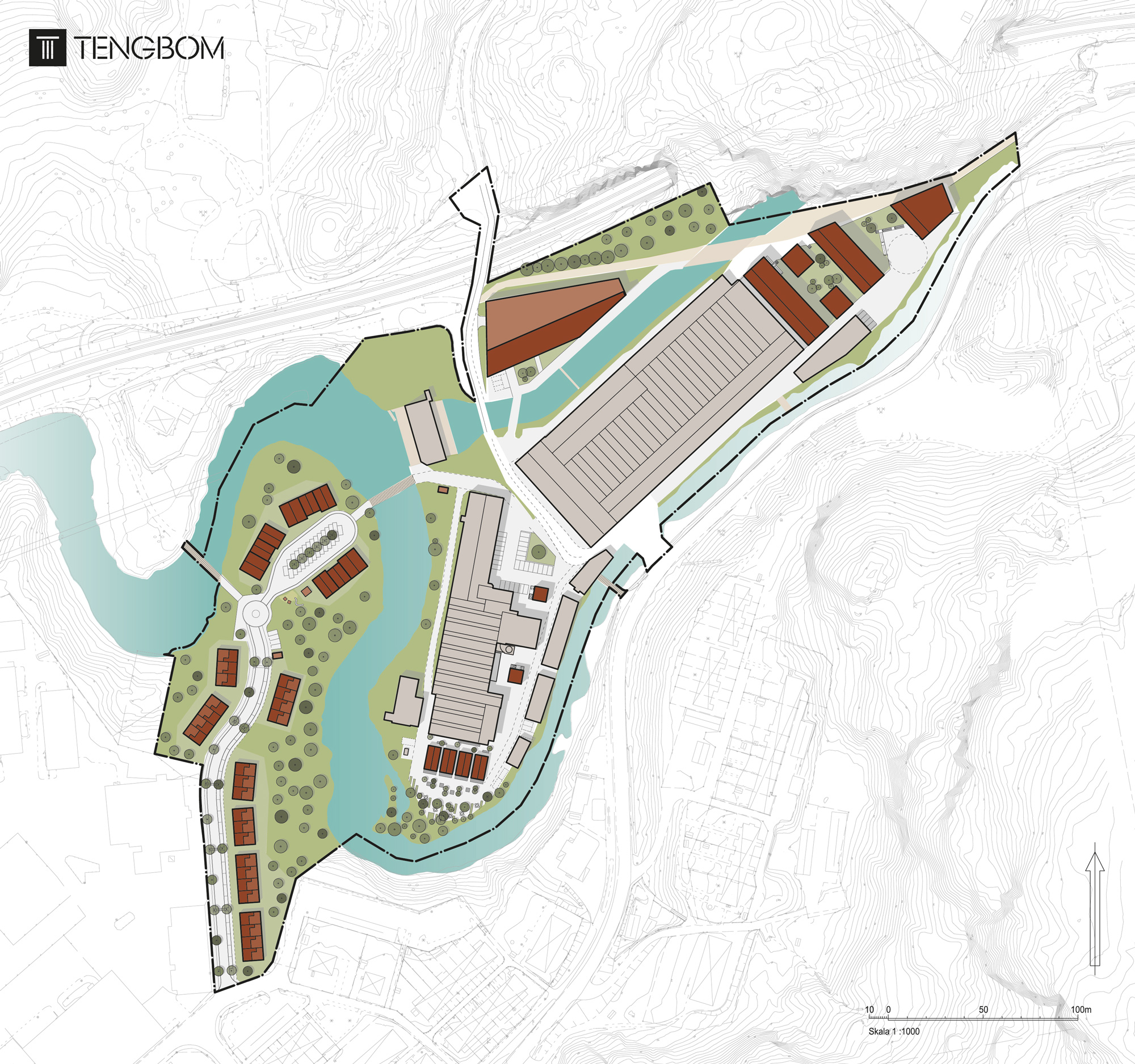 Plan över de fem exploateringsområdena. Illustration: Tengbom