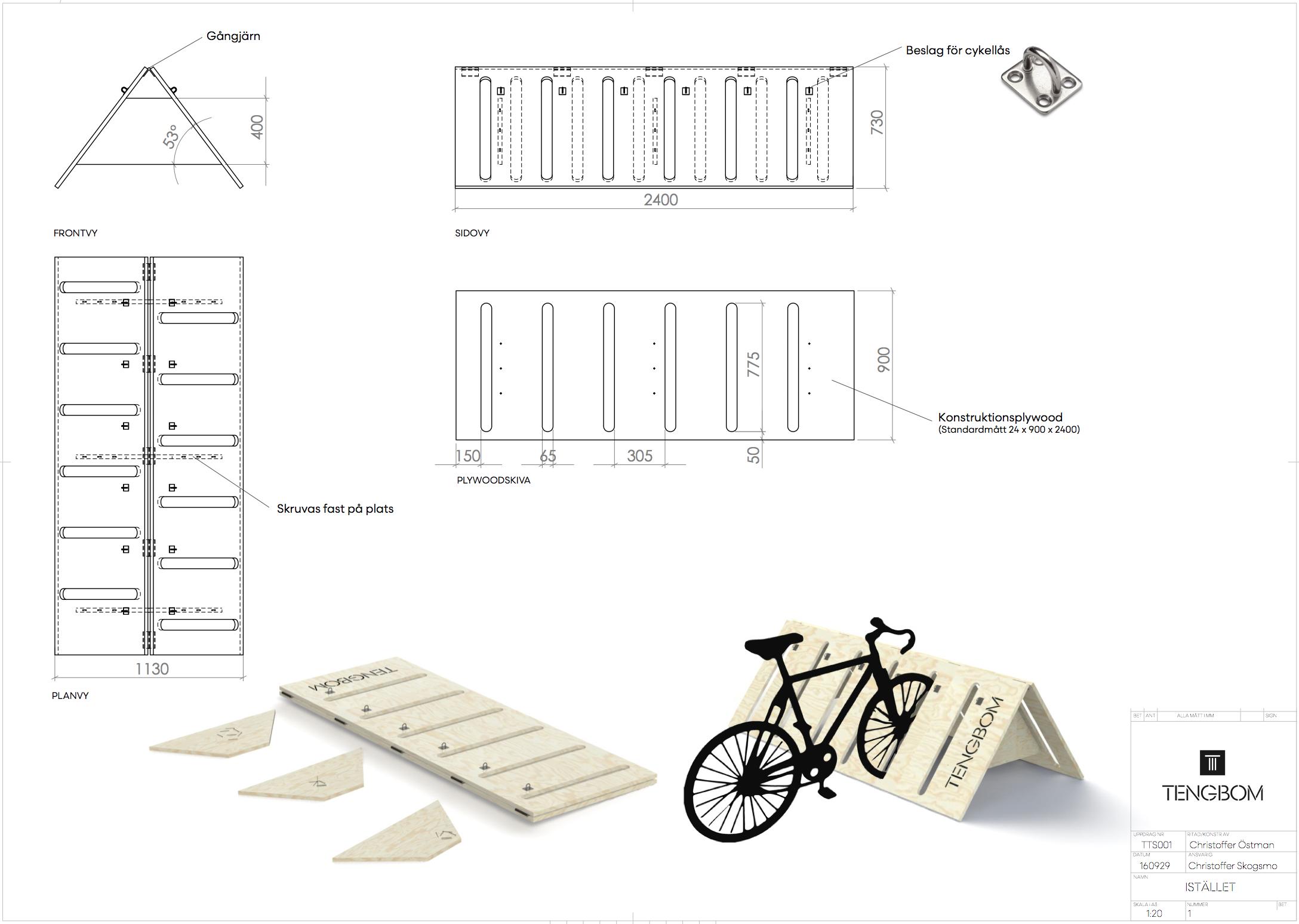 Ritning för cykelstället Istället