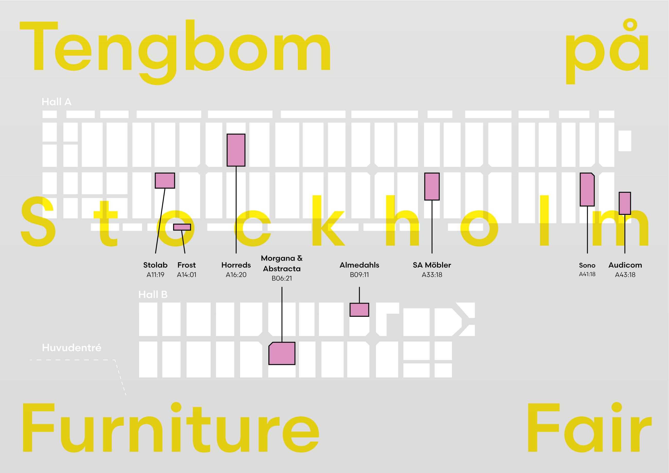 Karta över Tengboms närvaro på Stockholm Furniture Fair